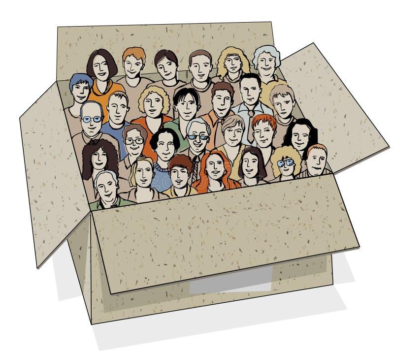 Große Gruppe von Personen im Kasten. lizenzfreie abbildung