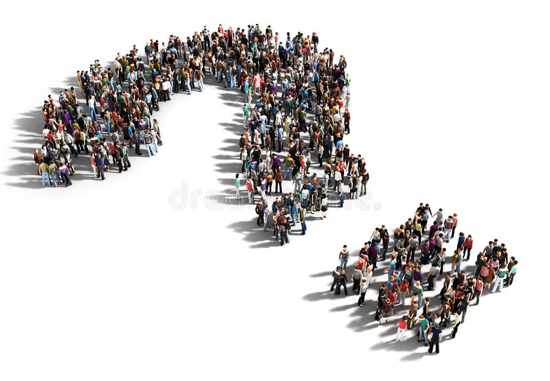Große Gruppe von Personen mit Fragen vektor abbildung