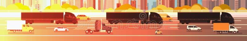 Große halb LKW-Anhänger, die in Linie auf Landstraßen-Straße mit Autos, Lorry Over City Background Delivery-Fracht-Konzept fahren vektor abbildung