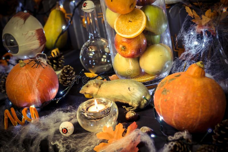 Große Halloween-Dekorationstabelle mit Kürbisen, Kiefernkegel, einer Ratte, Kerzen, Augen, einer hellen Girlande, einem Vase mit  stockbilder