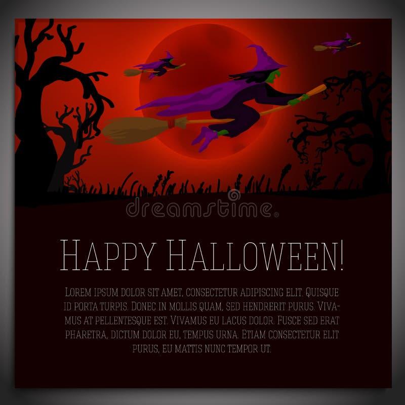 Große Halloween-Fahne mit Illustration von Hexen lizenzfreie abbildung