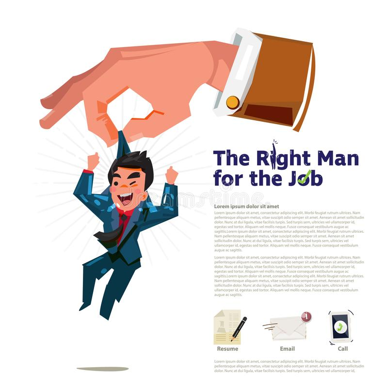 Große Hand des Geschäftsführers heben den intelligenten und glücklichen Geschäftsmann auf Der rechte Mann für das Jobkonzept wend vektor abbildung