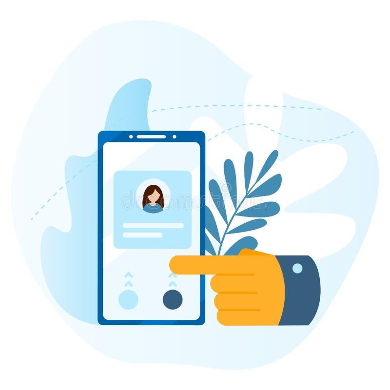 Große Hand drückt den Knopf auf dem Smartphoneschirm Konzept des Anrufs, Adressbuch, Anmerkungsbuch Bringen Sie uns Ikone in Kont lizenzfreie abbildung