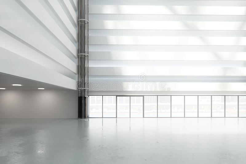 Große, helle Halle im Geschäftszentrum lizenzfreie abbildung