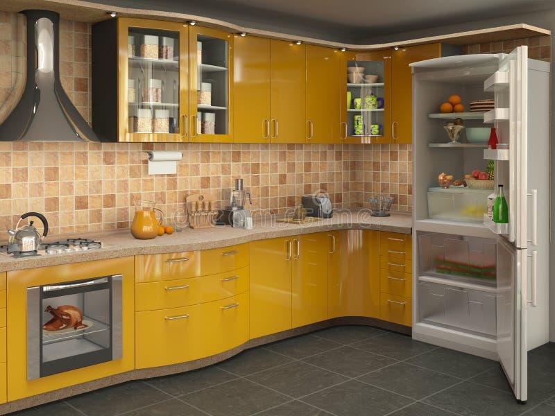 Große helle Küche mit Kühlschrank, stockbild