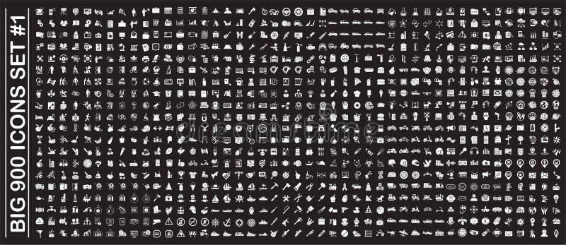 Gro?e 900 Ikonen eingestellt auf Hintergrund f?r Grafik und Webdesign Einfaches Vektorzeichen Internet-Konzeptsymbol f?r Website vektor abbildung