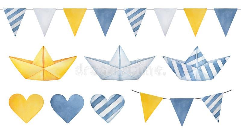 Große Illustrationssammlung Wimpelfahnengirlande, nette Papierboote, verschiedene Herzen und Dreieckflaggen lizenzfreie abbildung