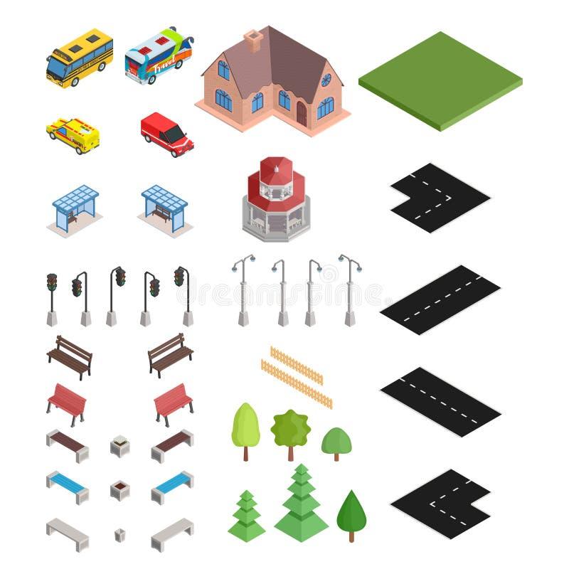Große isometrische Auswahl der Straße und des Hauses und der Autos vektor abbildung