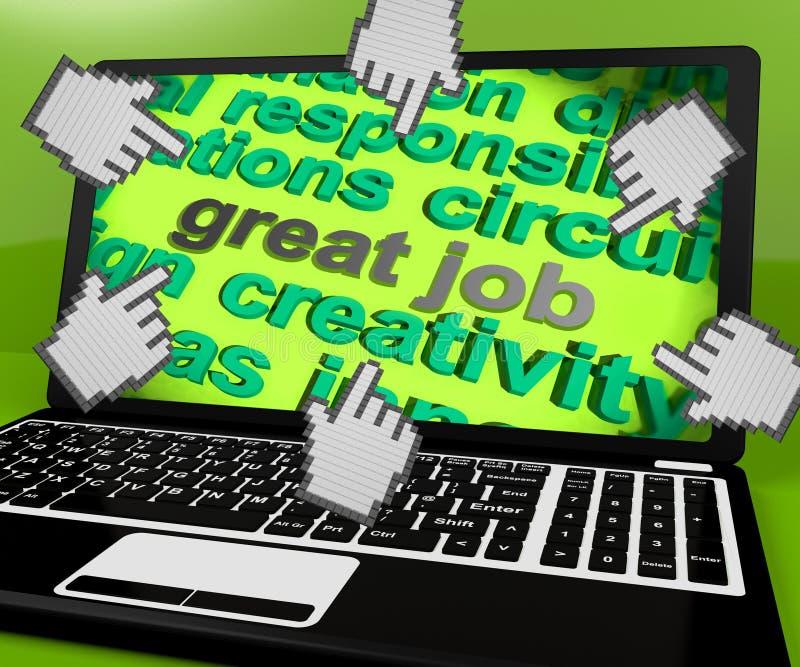 Große Job Laptop Screen Shows Awesome-Arbeit und -positives Feedback vektor abbildung