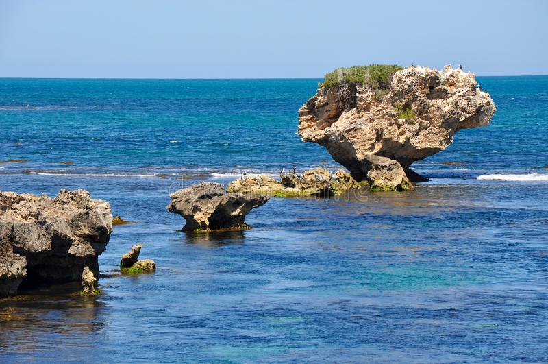 gro e kalkstein felsen der indische ozean west australien stockbild bild von landschaft. Black Bedroom Furniture Sets. Home Design Ideas