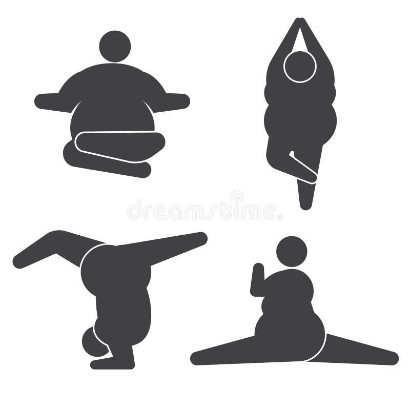 Große Kerle in übendem Yoga der Haltung lizenzfreie abbildung