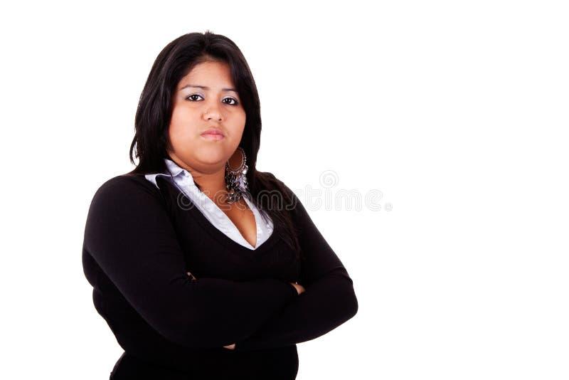 Große lateinische Frau verärgert stockfoto