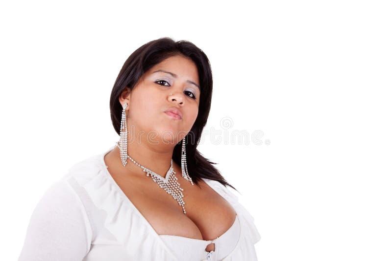 Große lateinische Frau verärgert lizenzfreies stockfoto