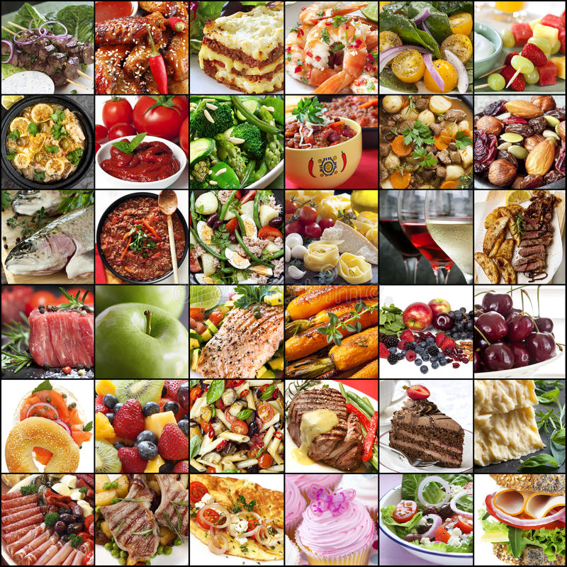 Große Lebensmittel-Collage lizenzfreies stockfoto