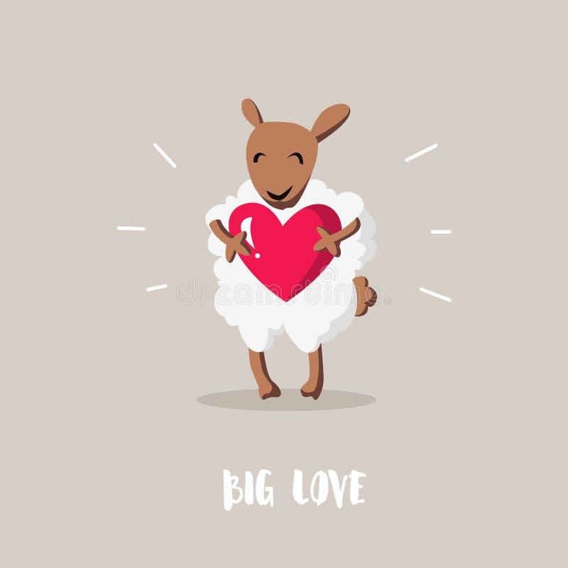 Große Liebe Karikaturschafe mit roter Herz-ähnlicher Ebene Glückliche Valentinsgruß ` s Karte lizenzfreie abbildung
