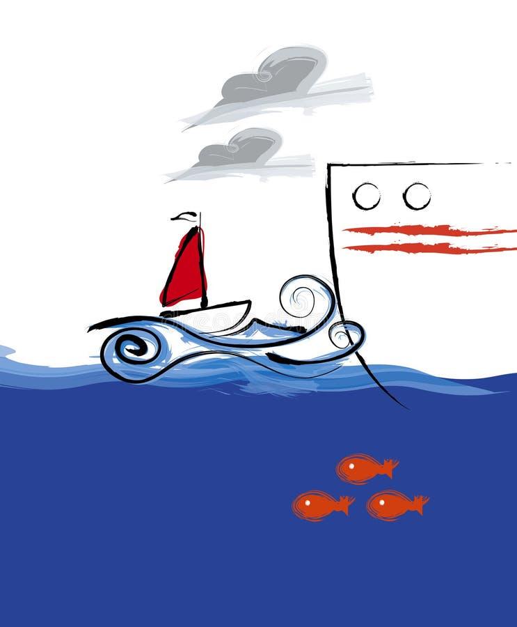 Große Lieferung des kleinen Bootes lizenzfreie abbildung