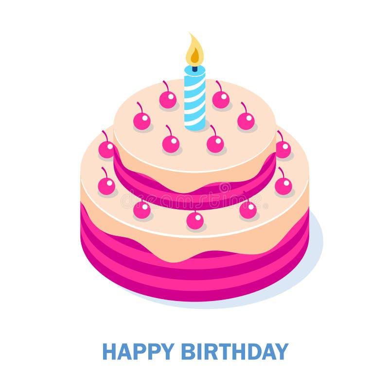 Große lokalisierter weißer Hintergrund des Kuchens 3d Ikone - alles Gute zum Geburtstag Isometrische Vektor-Illustration stock abbildung