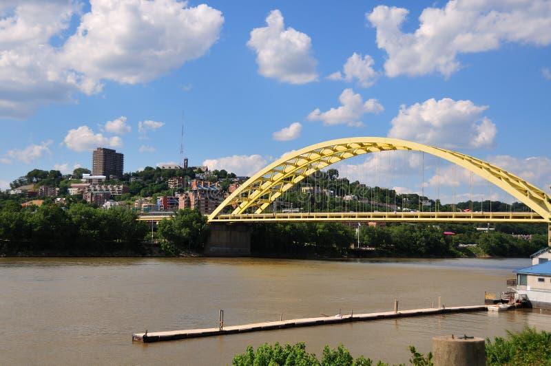 Große Mac-Brücke auf dem Ohio-Fluss stockbild