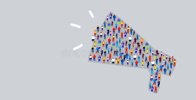Große Menge von Wirtschaftlern in den Megaphonformgeschäftsleuten, die zusammen Social Media-Gemeinschaftskonzept stehen lizenzfreie abbildung