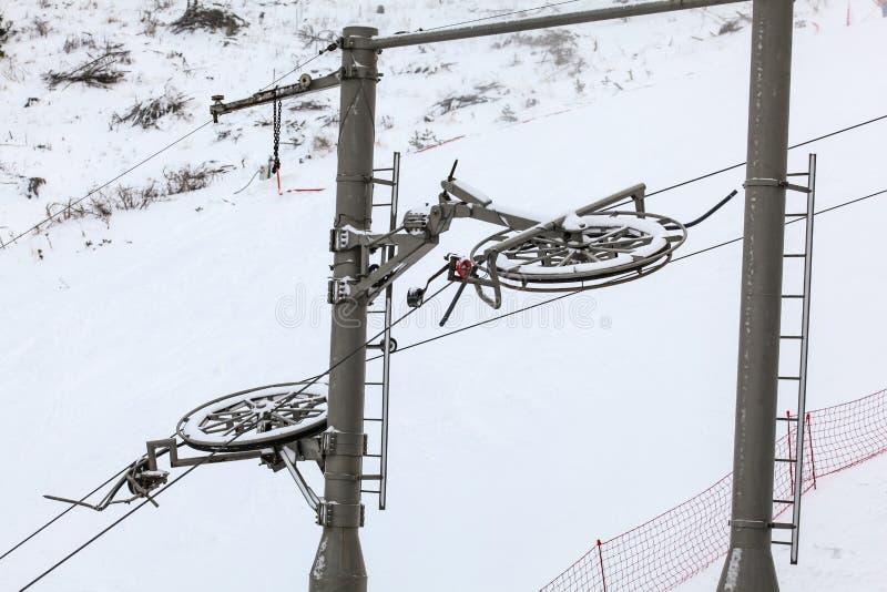 Große Metallräder für Stahlseile auf der tragenden Säule der Skilifte, schneebedeckte Piste im Hintergrund lizenzfreie stockbilder