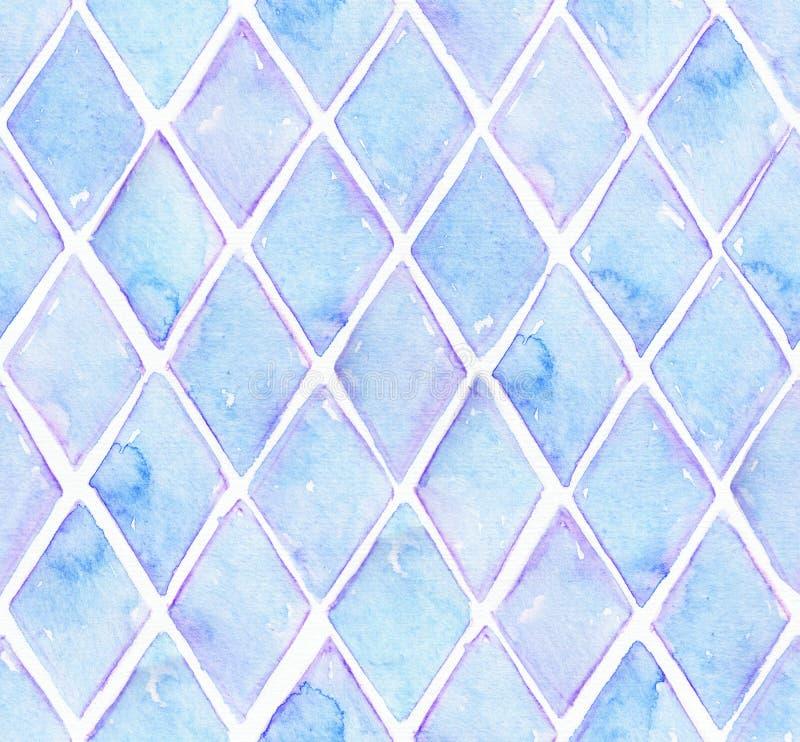 Große nahtlose Rasterbeschaffenheit mit blauer Raute im festen Design auf weißem Aquarellpapier Kreative körnige Illustrationshan lizenzfreies stockbild