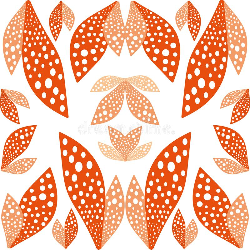 Große Orange verlässt hellem Muster symmetrischen Hintergrund vektor abbildung