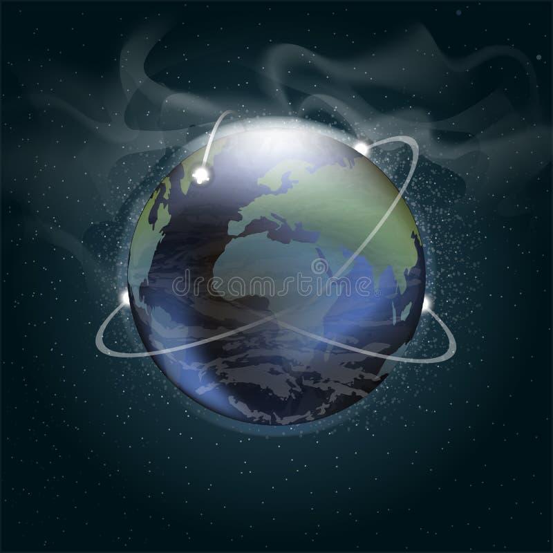 Große Planetenerde gesehen vom Raum in 3d lizenzfreie abbildung