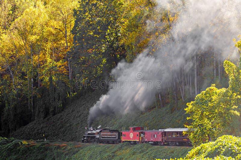 Große rauchige Gebirgseisenbahnzugfahrt stockfoto