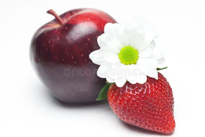 Große saftige rote reife Erdbeeren, Blume und Apfel stockbild
