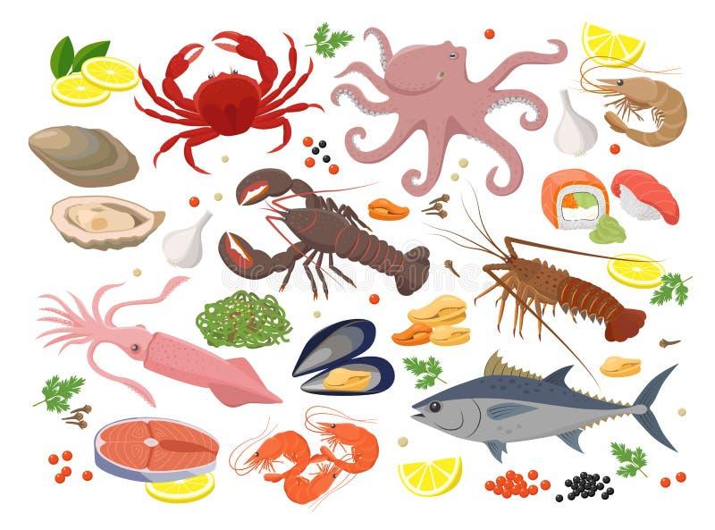 Große Sammlung der Meeresfrüchte Vektorillustrationen im flachen Entwurf lokalisiert auf weißem Hintergrund Vektorikonensatz der  vektor abbildung