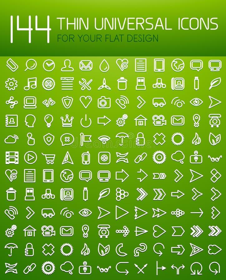 Große Sammlung des dünnen Universalnetzikonensatzes vektor abbildung