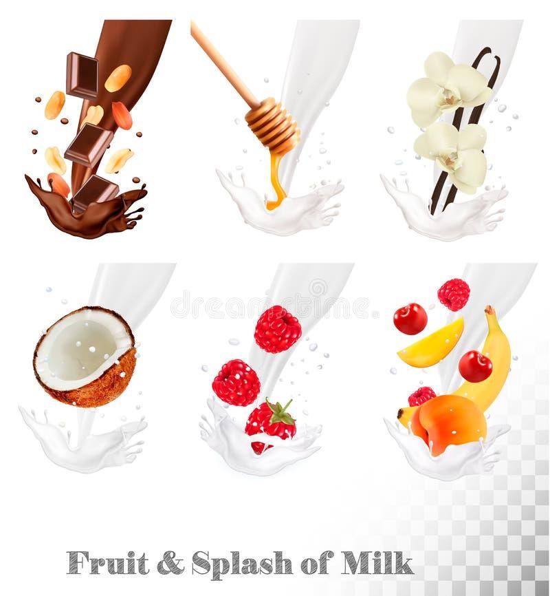 Große Sammlung Frucht und Beeren in einer Milch spritzen vektor abbildung