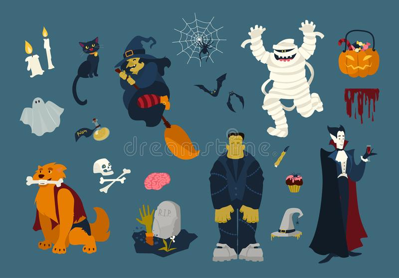Große Sammlung lustige und gespenstische Halloween-Zeichentrickfilm-Figuren - Zombie, Mama, Geist, Hexenfliegen auf Besen, schwar lizenzfreie abbildung