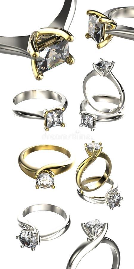 Große Sammlung mit Diamant Ringen Gold-und Silber-schwarzer Gewebe-Schmucksache-Hintergrund stockfoto