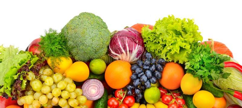 Große Sammlung Obst und Gemüse lokalisiert auf weißem backgr stockfoto