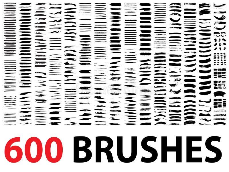 Große Sammlung oder Satz von 600 Bürstenanschlägen lizenzfreie abbildung