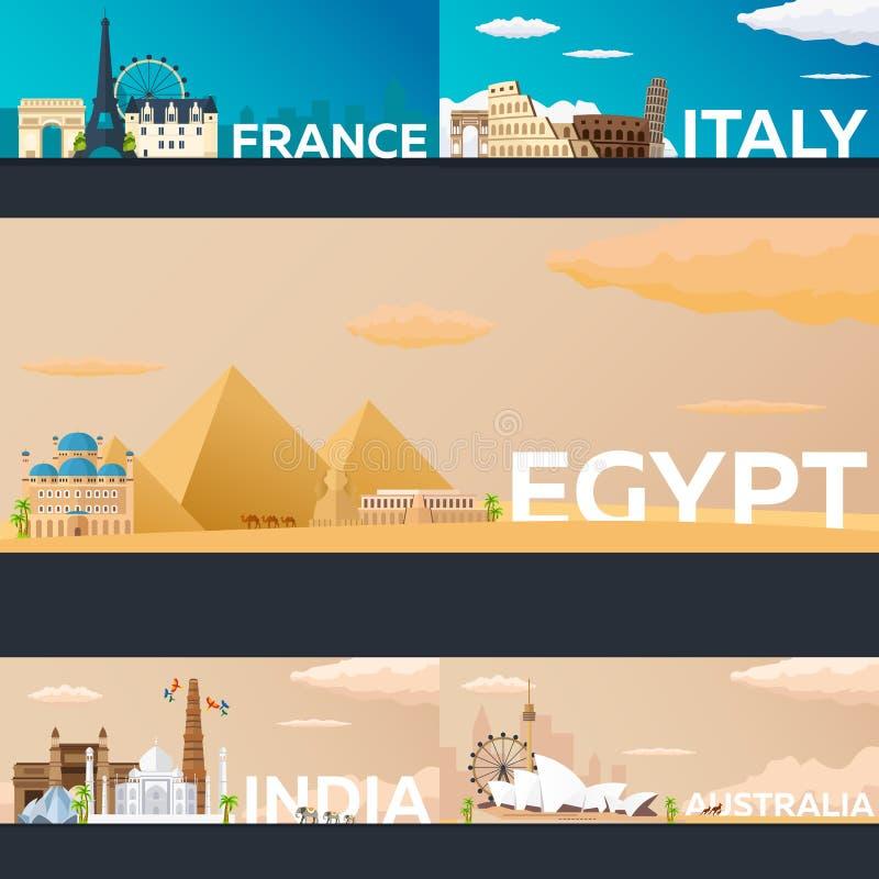 Große Sammlung Reisefahnen zum Land Flache Illustration Vecor stock abbildung