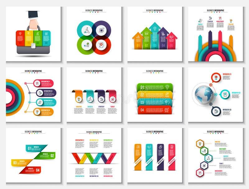 Große Sammlung Vektorzusammenfassungselemente für infographic vektor abbildung