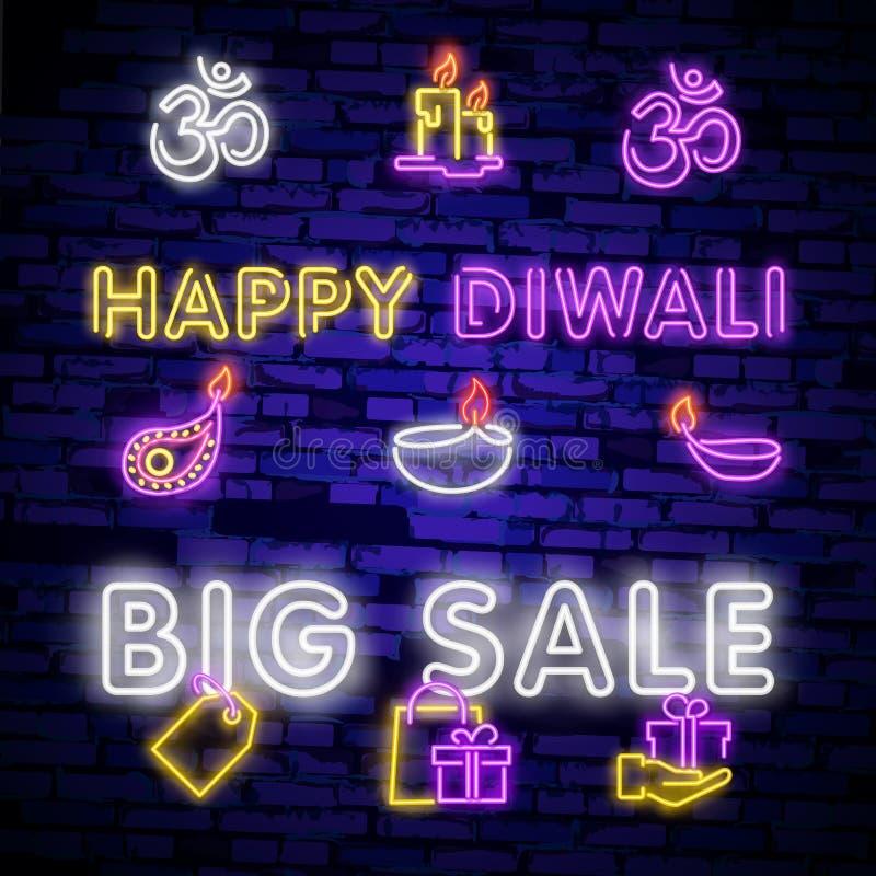 Große Sammlungsleuchtreklamen für Diwali-Festival Neonlogo des Diwali-Festival-Angebot-großen Verkaufs, helles Fahnengestaltungse vektor abbildung