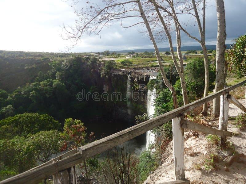 große Savanne Amazonas Venezuela des Wasserwasserfalls stockfotos