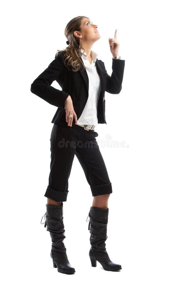 Große schauende Geschäftsfrau stockfotos