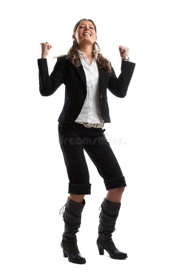Große schauende Geschäftsfrau stockbild