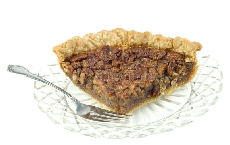 Große Scheibe der Pekannuss-Torte lizenzfreies stockbild