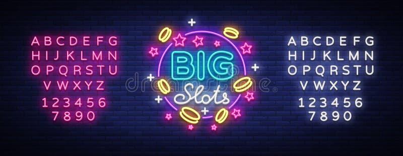 Große Schlitzleuchtreklame Designschablone in der Neonart Spielautomaten heller Logo Symbol, gewinnender Jackpot, leuchtendes Net stock abbildung