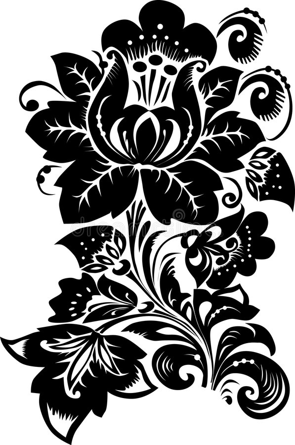 Große schwarze Blume auf Weiß lizenzfreie abbildung