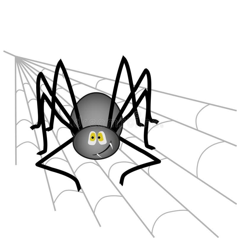 Große schwarze lächelnde Spinne sitzend auf einem Cobweb in der Ecke, auf einem isolierten Hintergrund vektor abbildung
