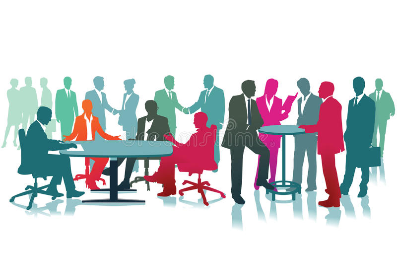 Große Sitzung von Geschäftsleuten lizenzfreie abbildung