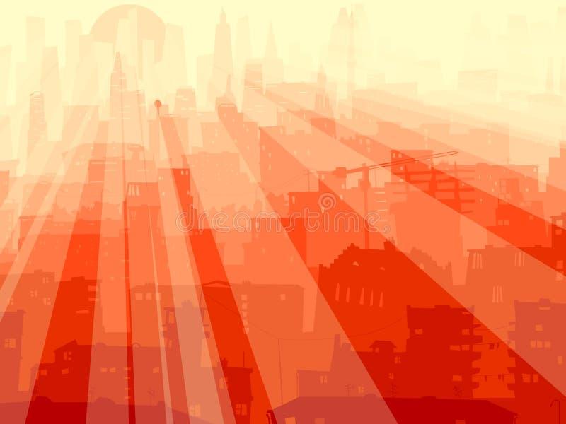 Große Stadt der abstrakten Abbildung und Strahlen der Leuchte. vektor abbildung