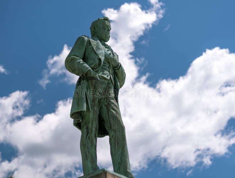 Große Statue von Ulysses Grant im Galena lizenzfreies stockfoto
