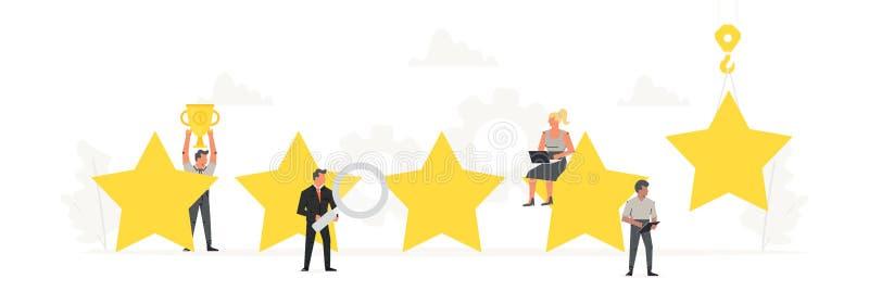 Große Sterne mit kleinem Arbeiter um es Bewertung, Feedback, Bewertungssystem, positiver Bericht, Qualitätsarbeit vektor abbildung